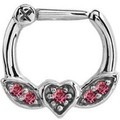 Winged Heart Jewelled Septum Piercing Clicker Ring - Pink