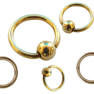 Zircon Gold Ball Closure Rings