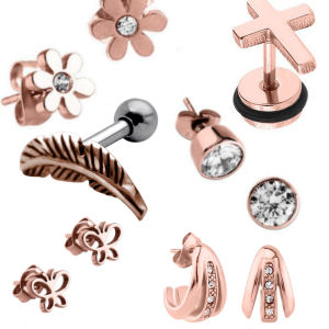 Rose Gold Lobe & Upper Ear Jewellery