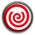 Titanium Internally Threaded Ikon Disc - Red and White Spiral