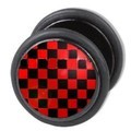 Fake Ear Plug - Red Checkerboard