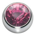 Titanium Threaded Jewelled Balls - Ti-Glo - Pink