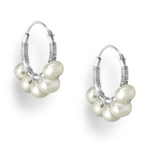 925 Sterling Silver Hoop Earrings Beaded with Freshwater Pearls