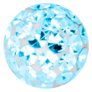 Crystal Cluster Threaded Ball - Light Blue