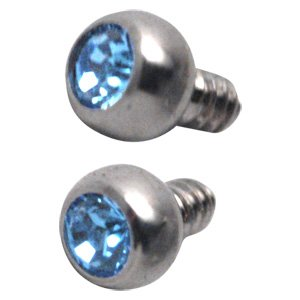 Titanium Internally Threaded Micro Jewelled Balls - Light Blue