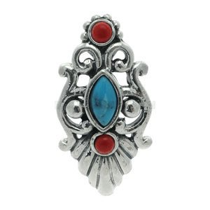 Silver and Steel Reverse Belly Bar - Turquoise & Coral