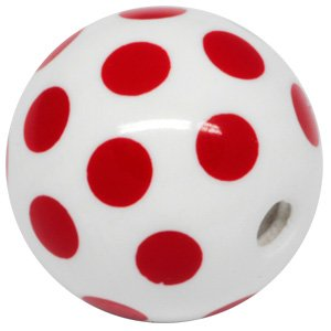 Pmma Acrylic Threaded Polka Dot Ball Red And White Buy