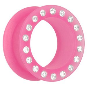 Jewelled Silicon Flesh Tunnel - Pink