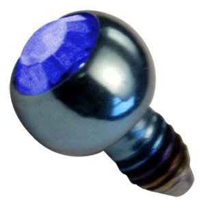 Titanium Internally Threaded Jewelled Balls - Dark Blue