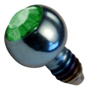 Titanium Internally Threaded Jewelled Balls - Dark Green