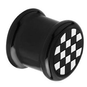 Acrylic & Silicone Flesh Plug - Chequered