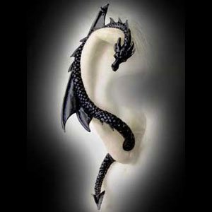 Alchemy Gothic The Dragon's Lure Earring - Black Pewter