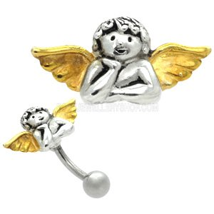 Sterling Silver and Steel Reverse Belly Bar - Happy Angel