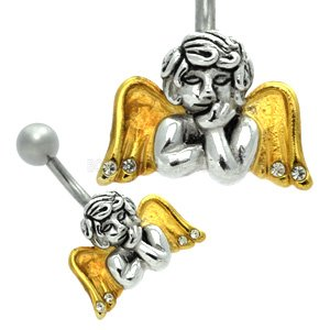 Sterling Silver and Steel Belly Bar - Dreaming Angel