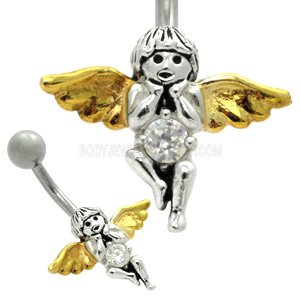 Sterling Silver and Steel Belly Bar - Jewelled Angel