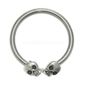 Surgical Steel Ball Closure Ring - Silver Skulls