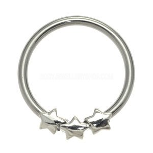 Surgical Steel Ball Closure Ring - Forward Silver Stars