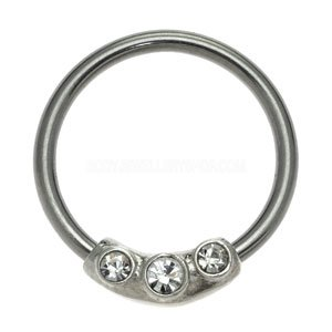 Silver & Steel Jewelled Ball Closure Ring - Clear