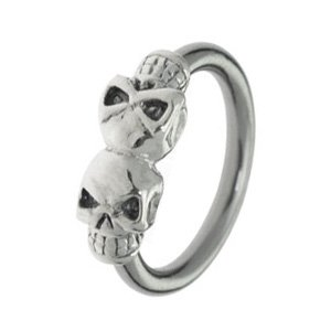 Surgical Steel and Silver Charm Ball Closure Ring - Silver Skull