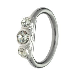 Surgical Steel & Silver Ball Closure Ring - Outward Facing Jewels