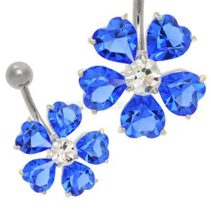 Flower Jewel Belly Bar - Blue
