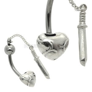 Silver and Steel Belly Bar - Heart & Dagger