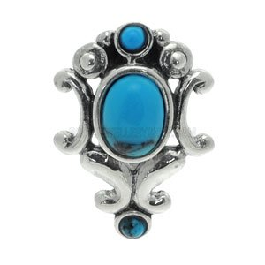 Silver and Steel Reverse Belly Bar - Elegant Turquoise