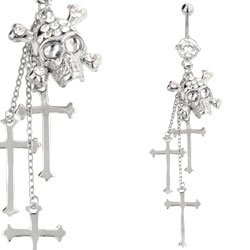 Jewelled Belly Button Dangle (Clear Skull & Cross)