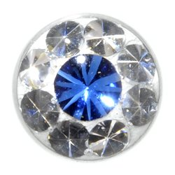 Blue Crystal Jewelled Threaded Ball