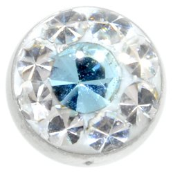 Belly Jewel Threaded Ball (Light Blue Dot)