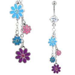 Belly Piercing Dangle (Mixed Daisies)