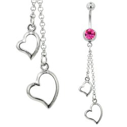 Belly Piercing Dangle (Pink Open Hearts)