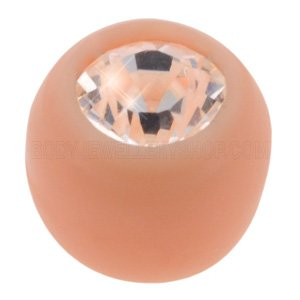 Flesh Tone BioFlex Jewelled Push-Fit Ball - Clear