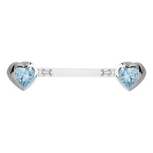 Bioflex Push Fit Jewelled Heart Nipple Barbell - Light Blue
