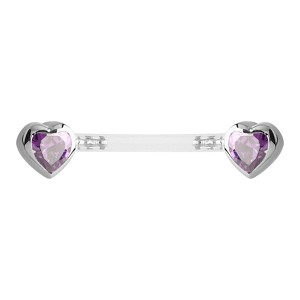 Bioflex Push Fit Jewelled Heart Nipple Barbell - Purple