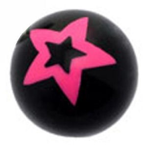 Black Acrylic Ball - Pink Star