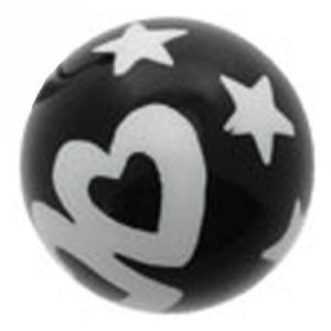 Black Acrylic Ball - White Hearts And Stars