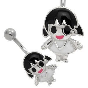 Silver and Steel Belly Piercing Bar - Black Haired Doll