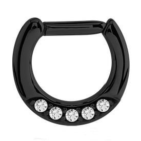 Black Surgical Steel Jewelled Hinged Clicker Ring - Crystal