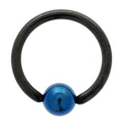 Blackline Ball Closure Ring with Dark Blue Titanium ball