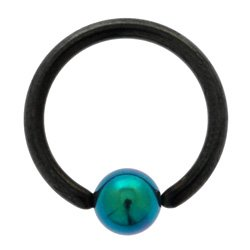Blackline Ball Closure Ring with Green Titanium ball