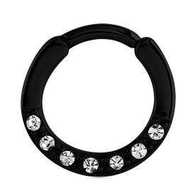 Blackline Hinged Jewelled Septum Clicker Ring - Crystal