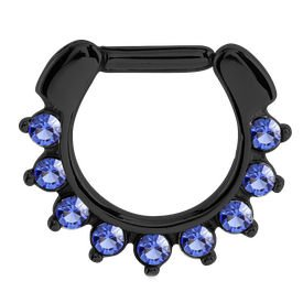 Blackline Jewelled Hinged Septum Clicker Ring - Blue