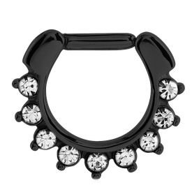 Blackline Jewelled Hinged Septum Clicker Ring - Crystal