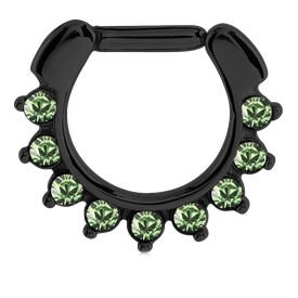 Blackline Jewelled Hinged Septum Clicker Ring - Green