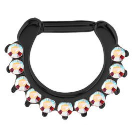 Blackline Jewelled Prong Set Septum Clicker Ring - Crystal AB