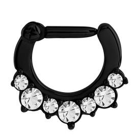 Blackline Jewelled Septum Clicker Ring - Crystal
