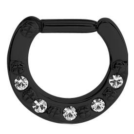 Blackline Round Jewelled Hinged Septum Clicker Ring - Crystal