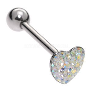 Steel Jewelled Heart Tongue Bar - Crystal AB