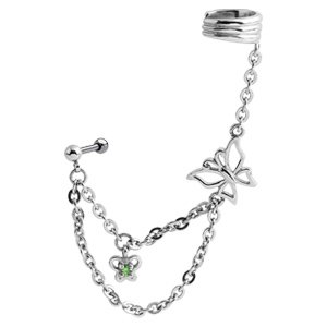 Butterfly Chain Ear Piercing Cuff - Green